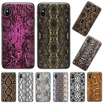 Leather Snake pattern horror Phone Case for iPhone 11 12 pro XS MAX 8 7 6 6S Plus X 5S SE 2020 XR image