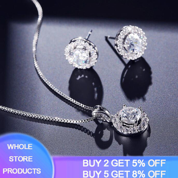 Dubai Silver 925 Jewelry Sets Nigerian Wedding Crystal Necklace Earrings Bridal African Jewelry Set Zircon Ethiopian Jewelry 2018 nigerian wedding african beads jewelry set brand woman fashion dubai gold color jewelry set nigerian wedding bridal bijoux