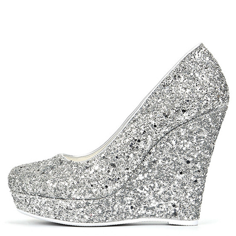 YECHNE Silver Golden women High heels Women's shoes Wedding shoes Pumps Plus Size Fashion Sexy Wiggen Pumps 2019