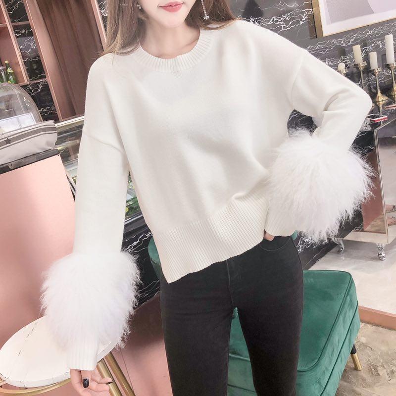 Réel lapin fourrure manches femmes chandails et pulls décontracté surdimensionné chandail noël hiver manches Pull Femme tricoté pulls