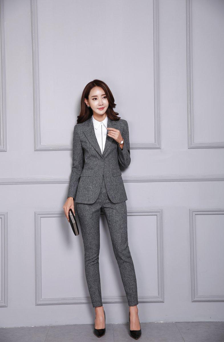 2020 Fall Winter Formal Fashion Black Blazer Women Business Suits Pant and Jacket Set Elegant Office Uniform Designs OL Style