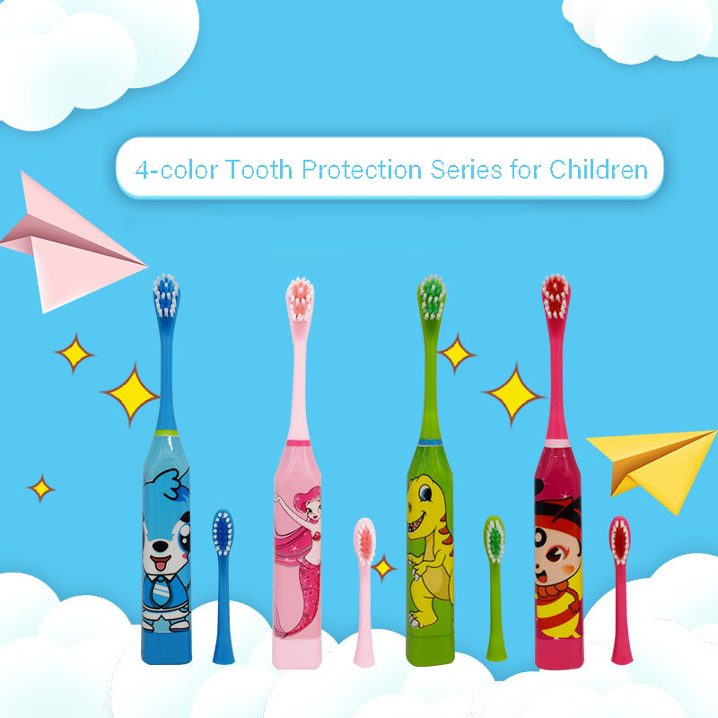 1Pcs Cartoon Cute Children Automatic Ultrasonic Electric Waterproof Toothbrush Convenient Portable Oral Health Supplies