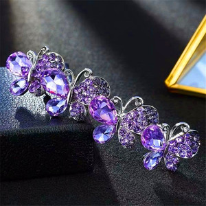 Elegant Female Girl Purple Stone Hair Clips Cute Women Small Butterfly Hair Band Vintage Wedding Hair Accessories