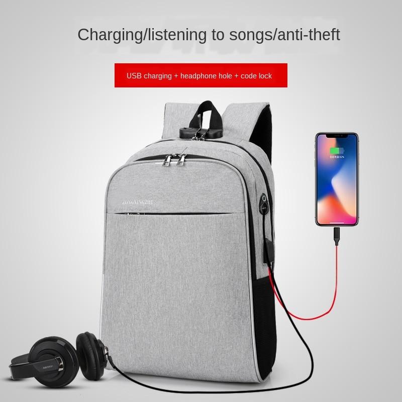 17 In USB Charging Laptop Backpack Men Lock Headphone Hole Multi-function Shoulder Bag Pack Women Anti Theft Backpack Waterproof