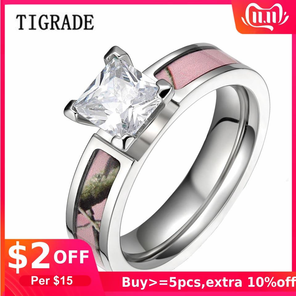 Promotion Womens 5mm Pink Camo Titanium Wedding Ring with Big Cz Stone Size 5 6 7 8 9 10