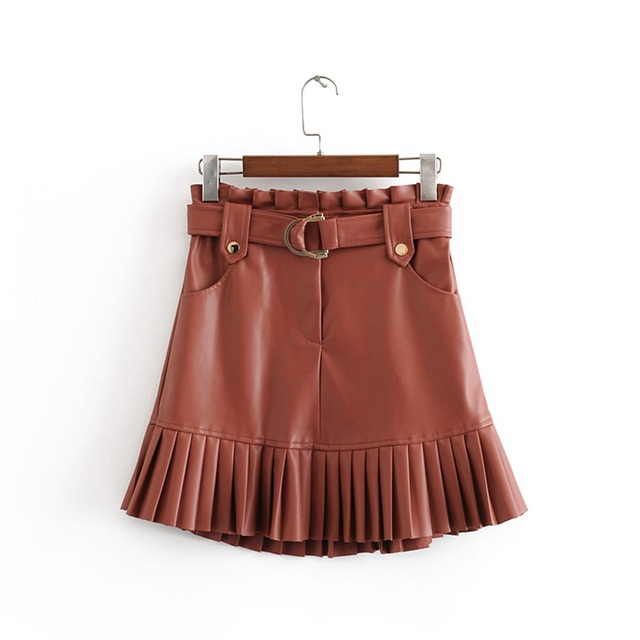 New fashion trend of autumn women's wear in 2019 small pleated imitation leather mini-step cake skirt 1