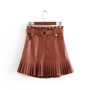 New fashion trend of autumn women's wear in 2019 small pleated imitation leather mini-step cake skirt(China)