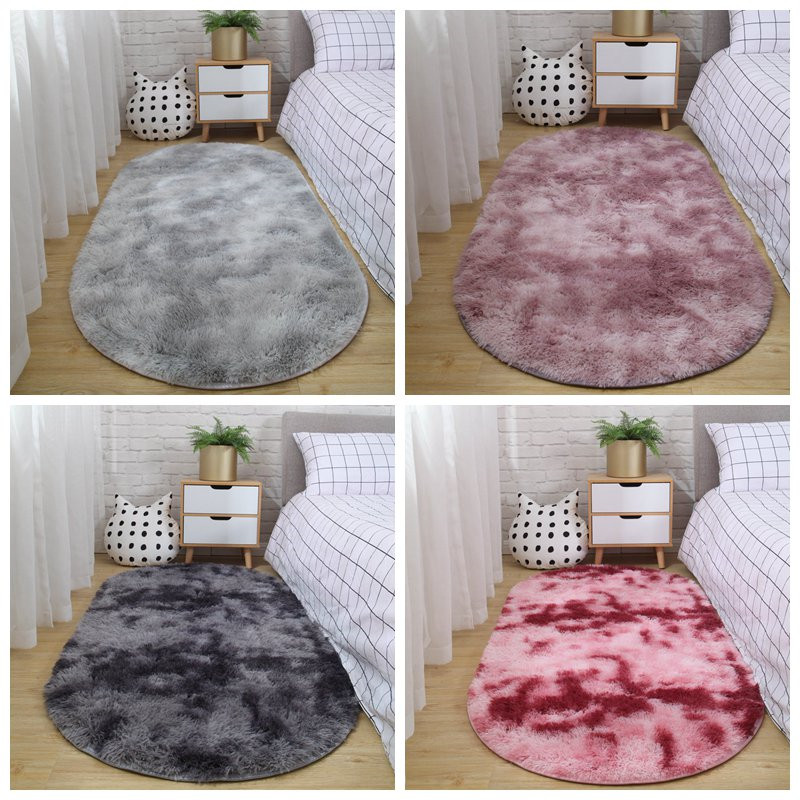 Carpet Bedroom Oval Bedside Carpet Living Room Sofa Coffee Table Mat Floor Room Plush Rug Not Lint Non-fading Non-slip Blanket