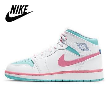 Original Nike Air Jordan 1 Mid Digital Pink GS Basketball Shoes Women's Basketball Sneakers Breathable Outdoor Nike Jordan 1 Mid