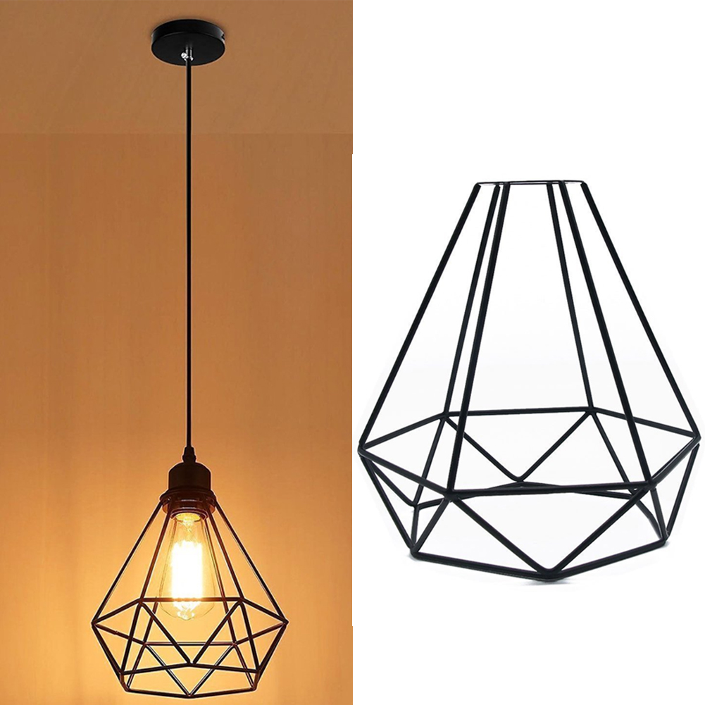 Indoor Retro Shop Vintage Iron Home Hanging Pendant Accessories Ceiling Light Cover DIY Decorative Cage Shape Lampshade