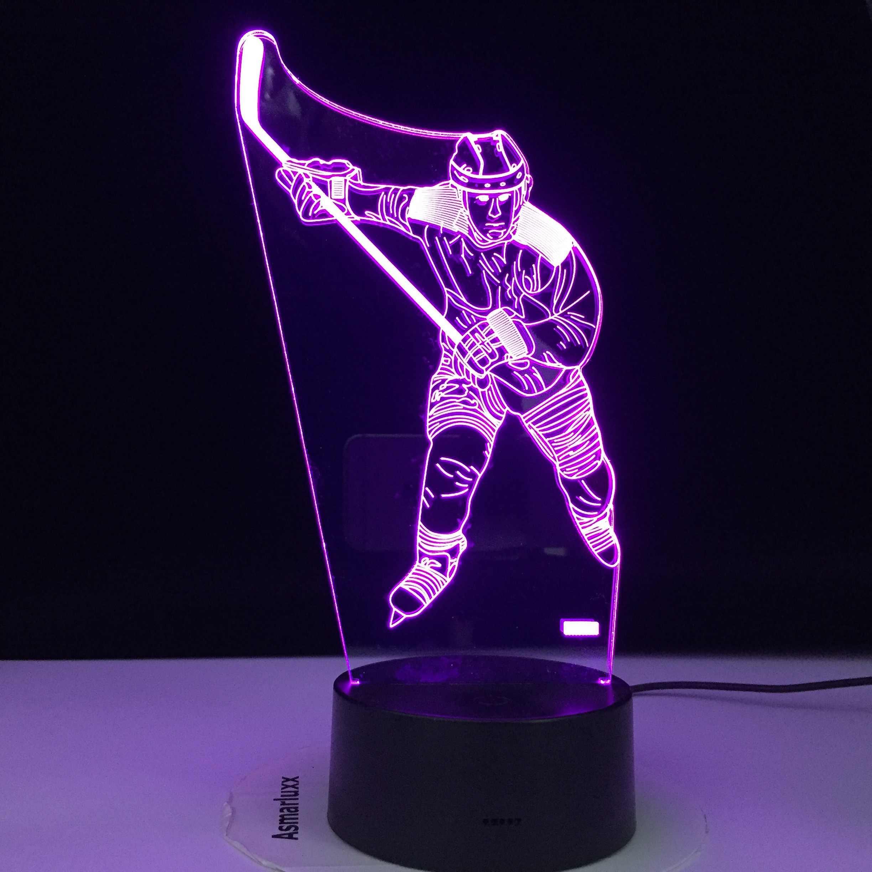 ICE Hockey Theme 3D โคมไฟ LED Light Night 7 เปลี่ยนสีสัมผัสโคมไฟอารมณ์ของขวัญวันเกิด Dropshippping