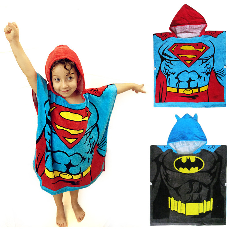 Hooded Bath Towel For Children Superman Batman Modeling Bathrobe Superman Batman Children Towel