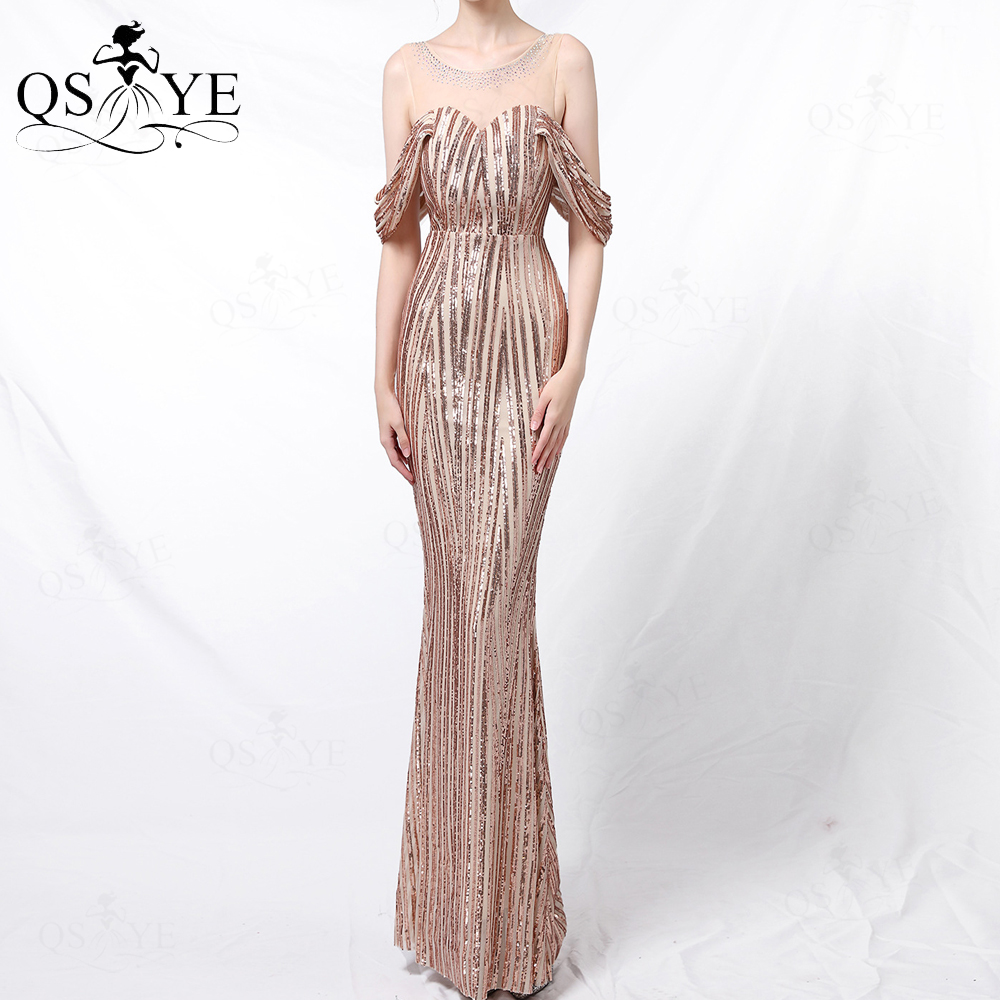 Vertical Stripes Sequin Gold Evening Dress Mermaid Long Party Dress Side Sleeves...