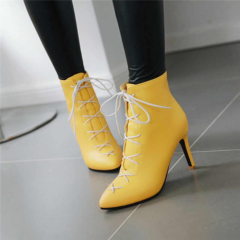 Meotina Kış yarım çizmeler Kadın PU Deri Ince Topuklu kısa çizmeler Lace Up Aşırı Yüksek Topuk Ayakkabı Kadın Sonbahar Büyük Boy 33 -46