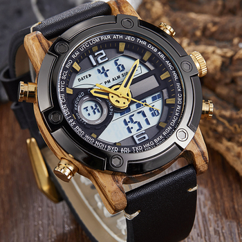 LED Digital Watch Men Wood Wristwatch Fashion Multi-function Quartz Digital Display Date Leather Military Sport Wooden Relogio