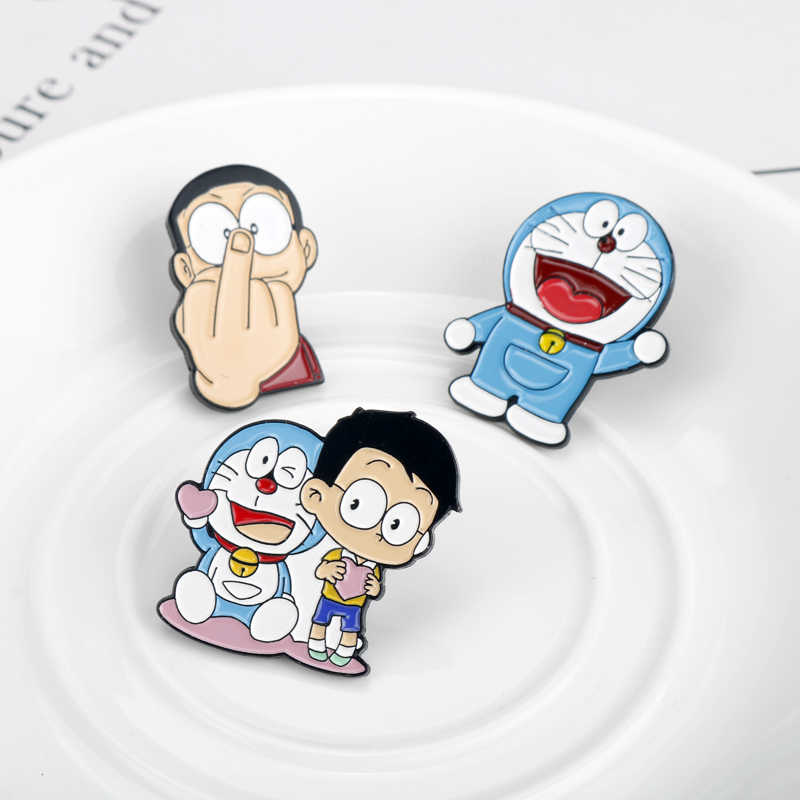 Japanese Anime Doraemon Cat Metal Enamel Pins and Brooches for Backpack Bags Badge Kids Christmas Gifts Collar Lapel Pin Jewelry