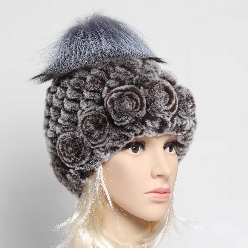 Russian Winter Women Genuine Rex Rabbit Fur Hat Lady Hand Knitted 100%Natural Rex Rabbit Fur Quality Coat Rabbit Fur Hat