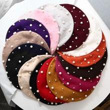 Шерстяные женские Зимние береты Роскошные Жемчужные заклепки винтажные кашемировые женские теплые модные шапки-береты для девочек плоская кепка берет для женщин