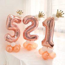 Anniversaire Ballon Décoration 13 Pièces/ensemble 32 pouces Rose Or Numéro Feuille Ballon Première Fête D'anniversaire Bébé Douche Enfants Décoration