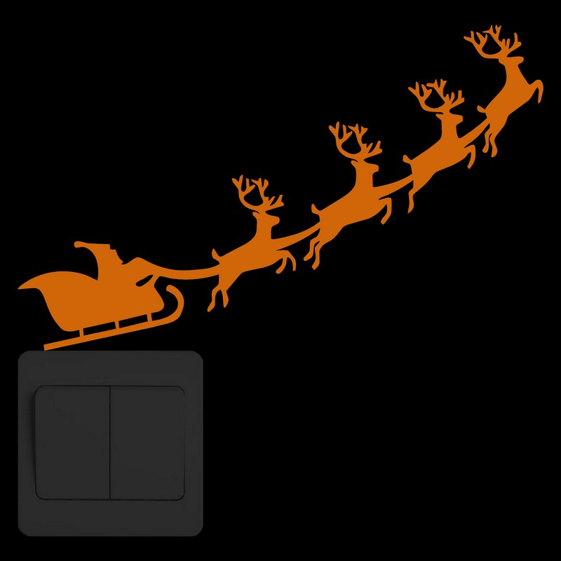 Cartoon Luminous Santa Claus and Sled Merry Christmas Wall Sticker Reindeer Glow in the Dark Switch Sticker Kids Room Xmas Decor