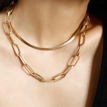 Женское Двухслойное ожерелье цепочка со змеиным плетением массивное