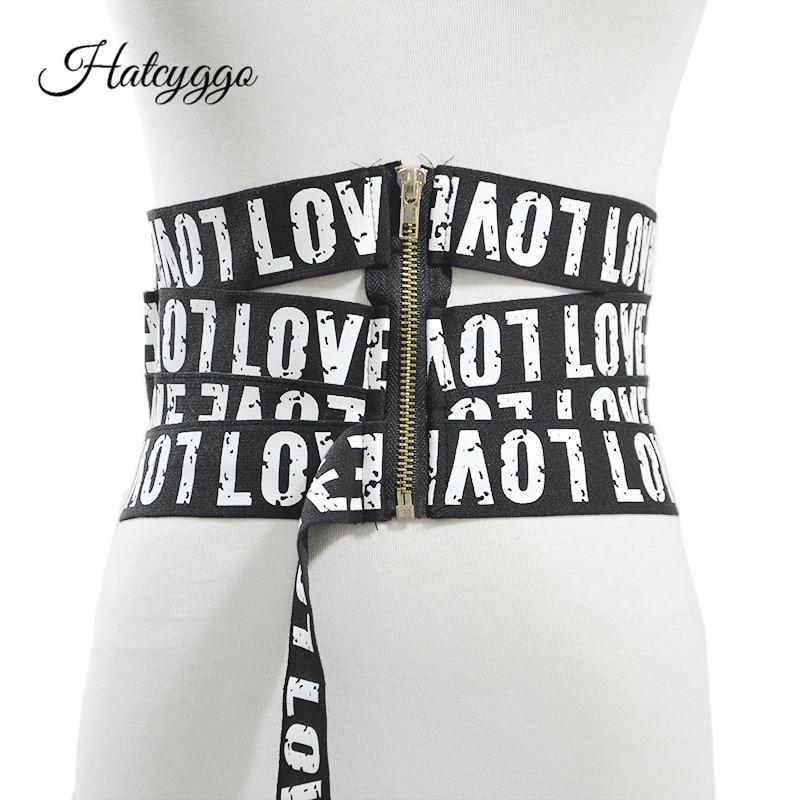 Fashion Wide Belt Cummerbund For Women Waistband Elastic Belts Female Letter Printing Canvas Belt Luxury Brand Stretch Strap