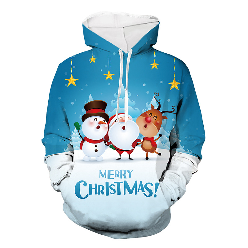 Christmas Sweater 3D Printing Snowman Oversized Hoodie Women Santa Claus Funny Ugly Christmas Sweater Autumn Winter Warm Sweater