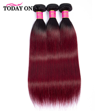 TODAY ONLY Brazilian Hair Weave 1 3 4 Bundles Burgundy Straight Hair Bundles Ombre Human Hair