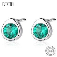 DOTEFFIL High Quality Green Water Drop Topaz Stud Earrings for Women 925 Sterling Silver 3 Colors Gemstone Earrings Fine Jewelry
