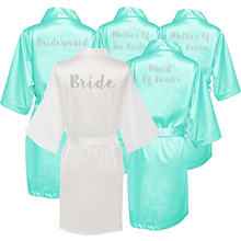 Owiter Mint Bride Bridesmaid Robe Mother Sister of The Wedding Gift Bathrobe Kimono Satin Robes Maid Honor Sleepwear
