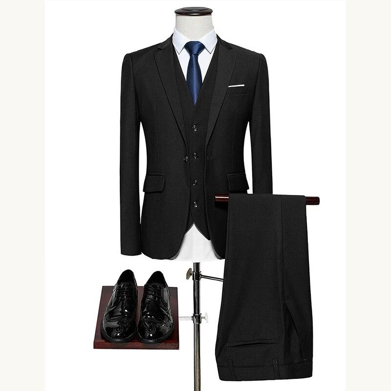 Men Suits Three Pieces Jacket Vest Pants Classic Male Blazer Asia Size M-6XL Wedding Tuxedo Suit Set