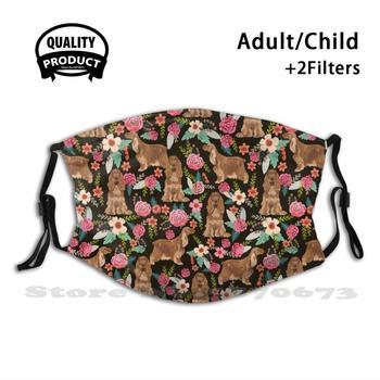 Cocker Spaniel Floral Dogs Floral Pattern - Vintage Florals, Cocker Spaniel Fashion Mouth Masks Filter Adult Kids Face Mask