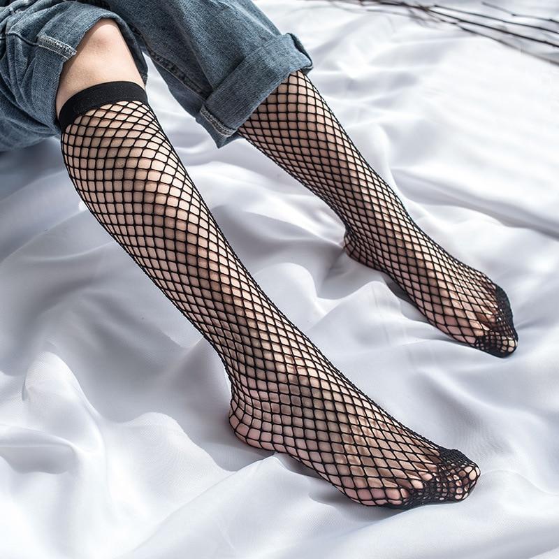2019 Women Sexy In The Tube Long Socks Summer Transparent Nylon Elastic Mesh Fishnet Socks Black Hollow Stretch Hosiery