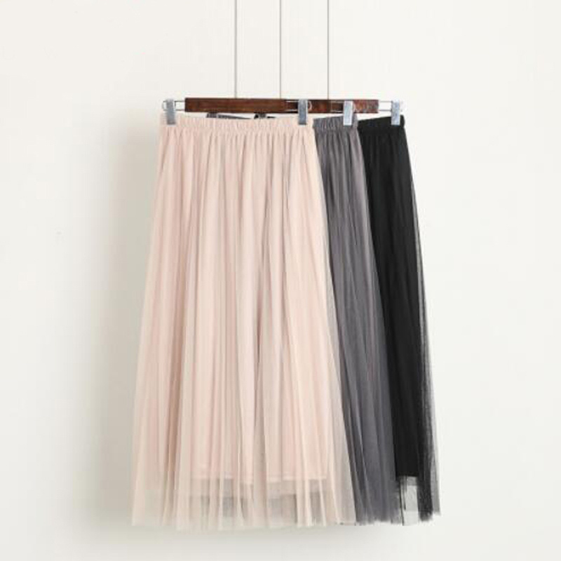 New Fashion With Tulle Skirts Women's Black Gray White Adult Tulle Skirt Elastic High Waist Pleated Midi Skirt Women Summer