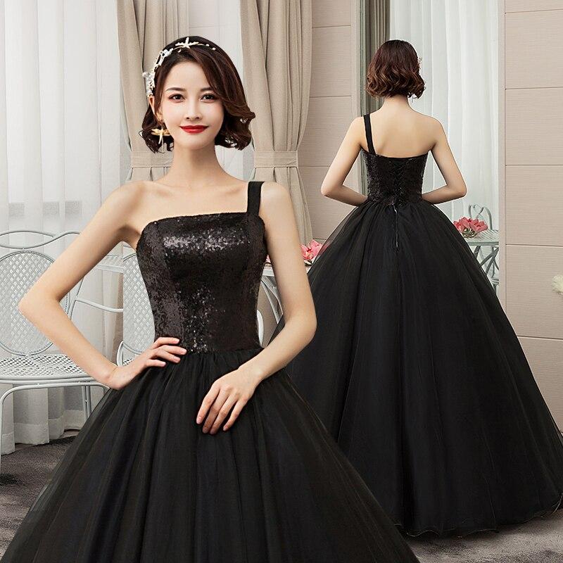 Es YiiYa vestido De novia brillante lentejuelas negro novia vestidos De baile De Boda sin tirantes talla grande vestido largo hasta el suelo De Mariee CH204 - 5