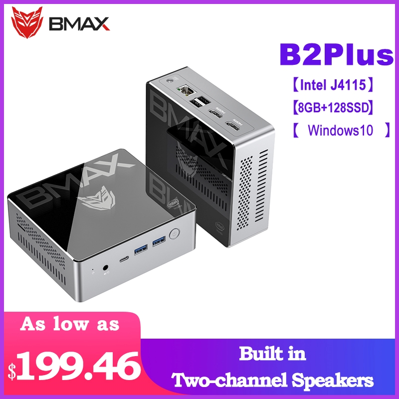 BMAX B2plus Portable Desktop Mini PC With Intel 9th ​​Gen UHD Graphics 600 Dual-HDMI Interface 8GB LPDDR4 + 128GB SSD Windows 10