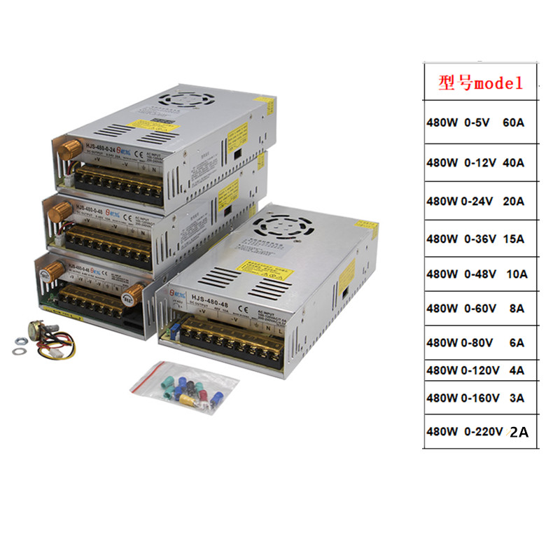1PCS 480W Adjustable Switching power supply with Digital display LED power supply DC 12V 5V 24V 36V 48V 60V 80V 120V 160v 220V