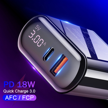 Digital Display Quick Charge 3.0 USB Charger 18W PD 3.0 Fast Charging For iPhone 11 Pro Mobile Phone USB C Charger Power Adapter