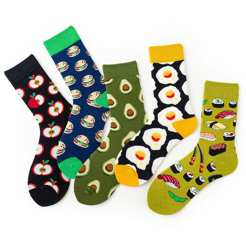 New Novelty Happy Funny Women Socks Harajuku Food Egg Apple Sushi Avocado Hamburger Print Cotton Socks Calcetines Skarpetki Gift