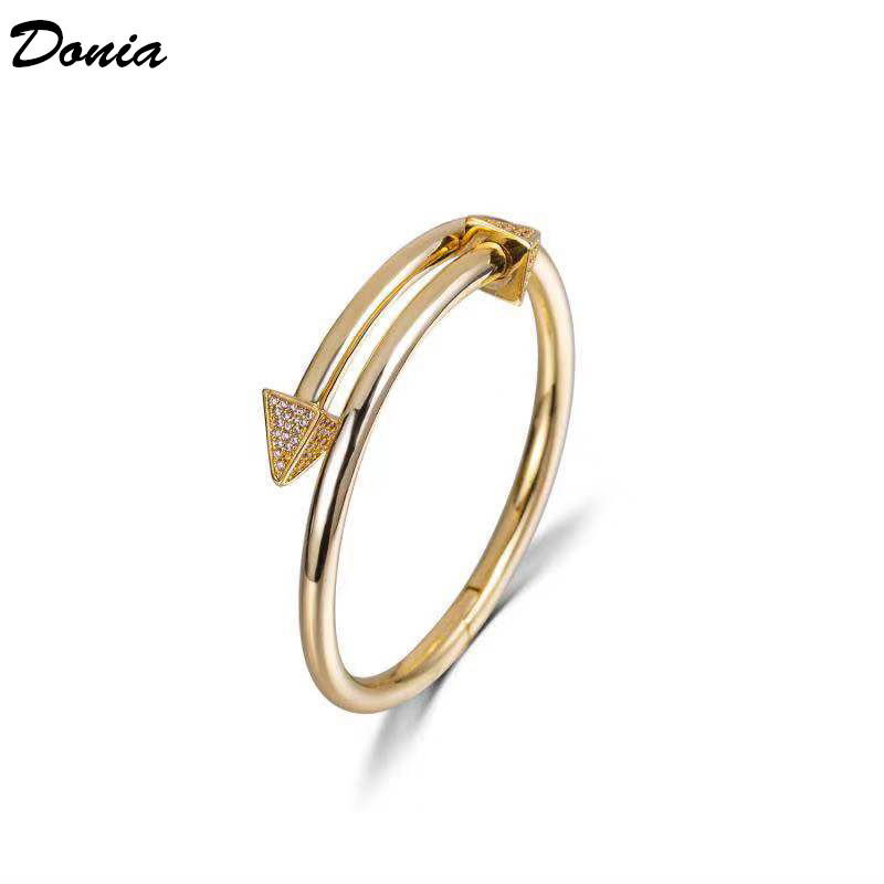Image 5 - Ювелирные изделия donia Европейская и американская мода новый  женский браслет из розового золота AAA циркон браслет Модный Открытый  браслетЮвелирные наборы