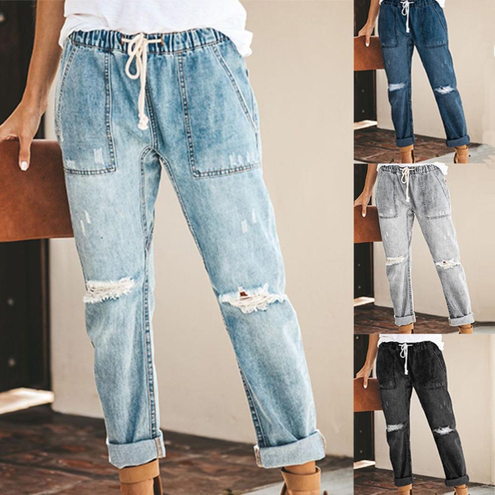 Fashion Distressed Knee Ripped Women Summer Holes Loose Trouser Drawstring Elastic Waist Pockets Long Pencil Denim Jeans Pants
