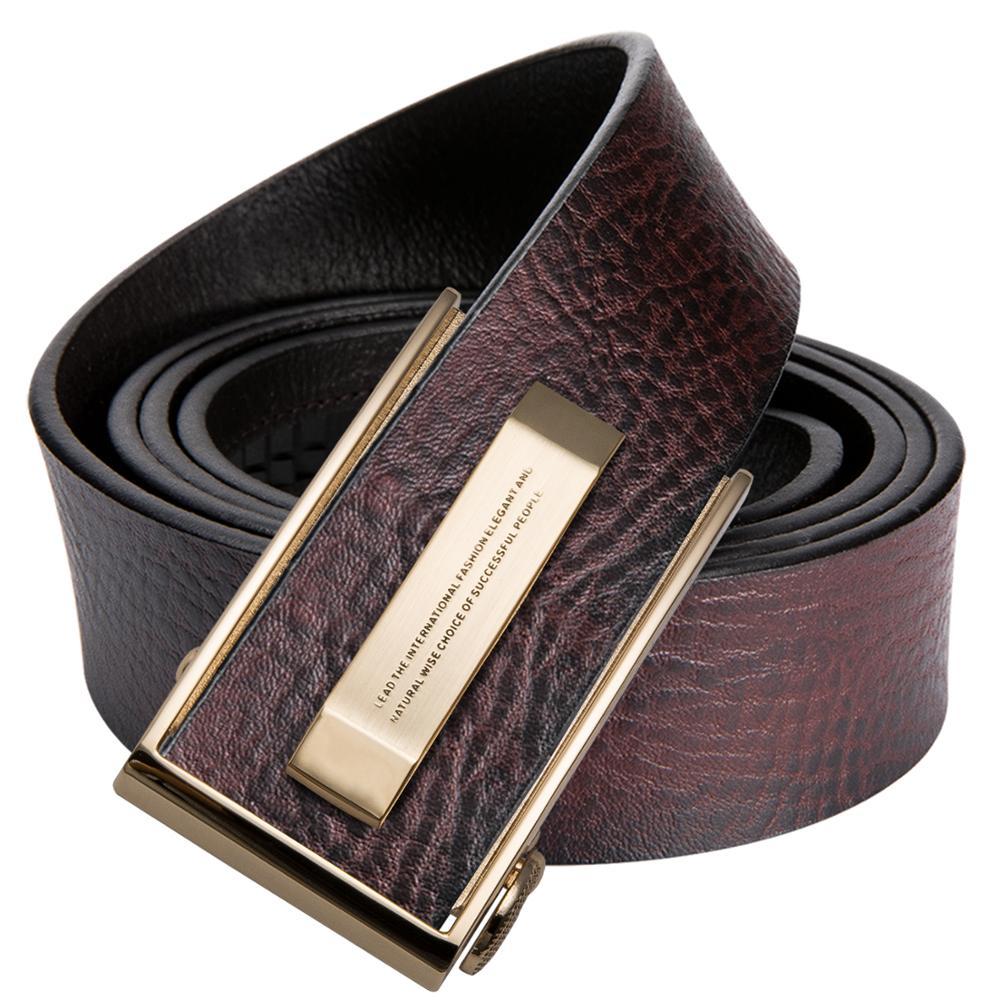 Hi-Tie Fashion Designer Brown Leather Men's Belt For Jeans Casual Style Cowboy Jeans Belt Strap Real Cowhide Genuine Belts Man