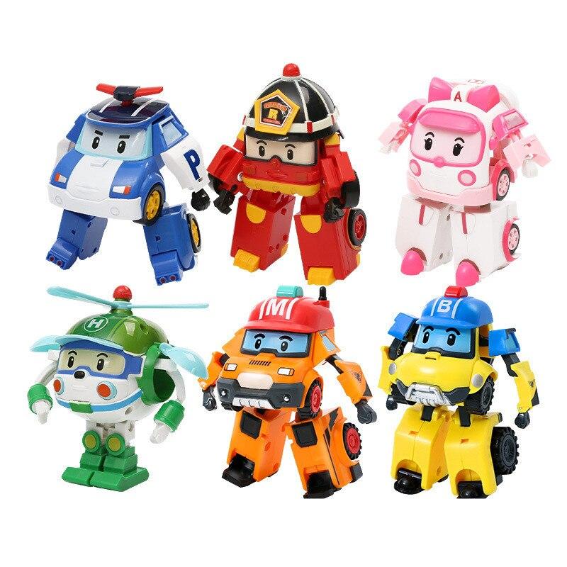 6 Styles Korean Kid Toys Robocar Poli Transformation Robot Poli Amber Roy Car Toys Action Figure Toys For Boys Christmas Gifts