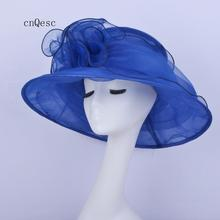 Темно-синяя шляпа с широкими полями для женщин шляпа с органзой для церкви Кентукки Дерби Свадьба Кубок melston ascot гонок, ширина краев 14 см