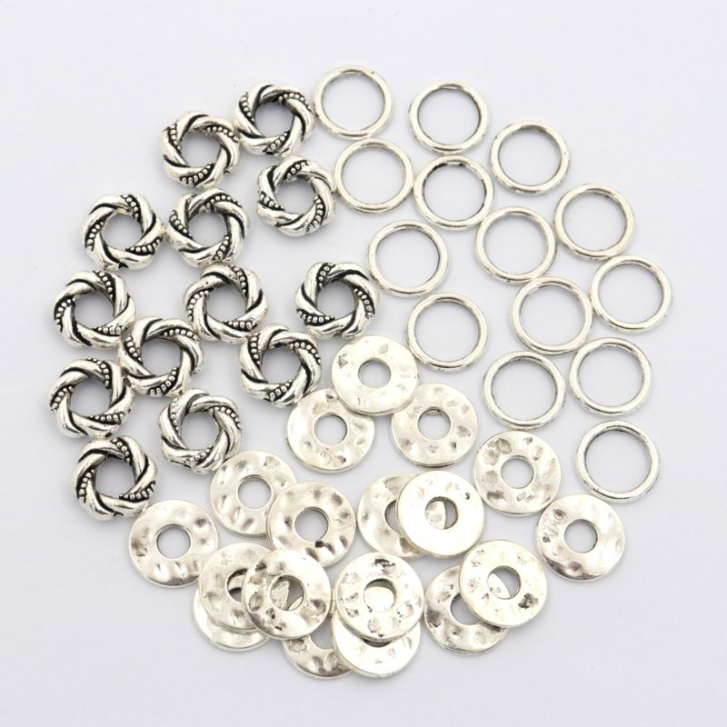 100pcs Mix Tibetan Gold Silver Round Metal Closed Loose Spacer Beads Jump Rings For Jewelry Making Bracelet Diy Accessories