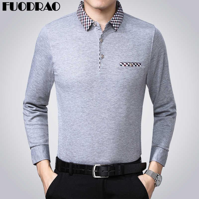 MIACAWOR Neue 2020 Männer Polo Shirt Frühling langarm Einfarbig Polo Hemd Männlichen Druck Kragen T Shirt Camisa Masculino t806