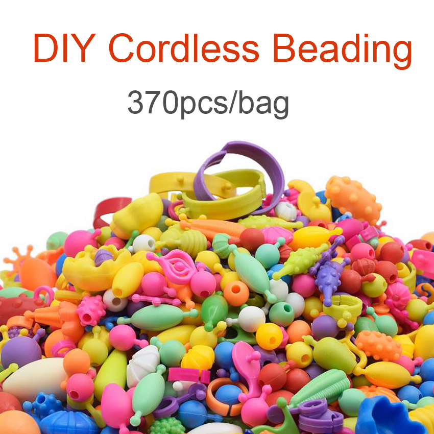 DOLLRYGA 370pcs/bag Pop Beads Toys For Girl Cordless Kids Fashion Bracelet Toy Kid Craft Beads DIY Educational Toy For Children