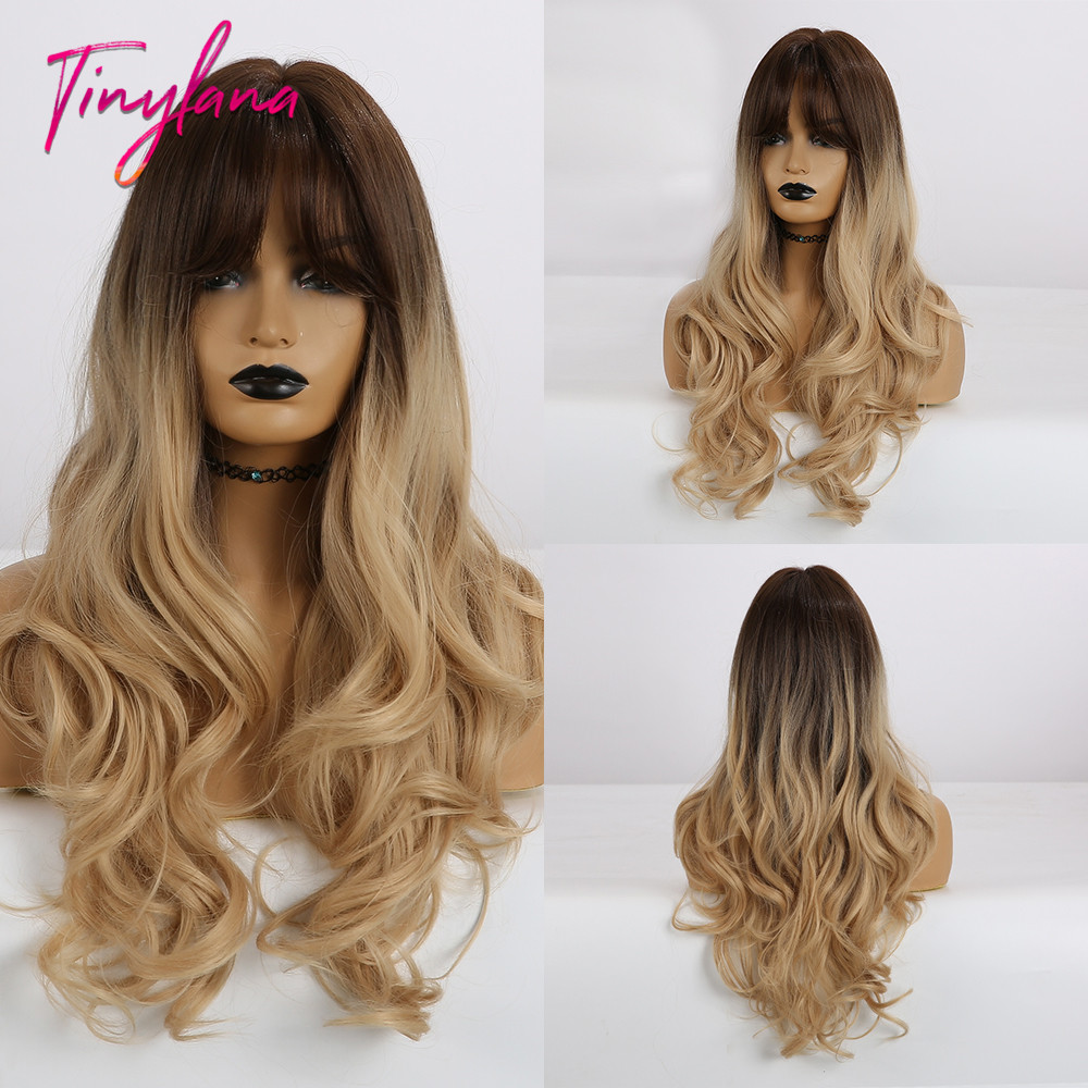 TINY LANA Women Wig Long Wavy Synthetic Hair With Bangs Heat Resistant Mixed Brown Blonde Ombre Color for Africa and America