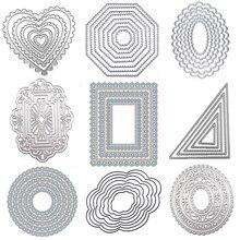 Wyse redondo corte de metal dados quadrado coração círculo morrer retângulo oval fundo ofício morrer scrapbooking para diy cartão modelo