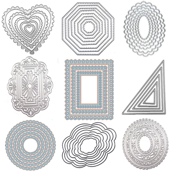 WYSE Round Metal Cutting Dies Square Heart Circle Die Rectangle Oval Background Craft Scrapbooking for DIY Card Template - discount item  15% OFF Arts,Crafts & Sewing